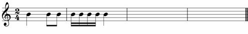 Write a two bar rhythm as an answer to the given rhythm - grade one music theory exam