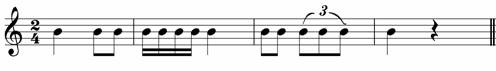 No connection with the given phrase - poor rhythm in grade one music theory