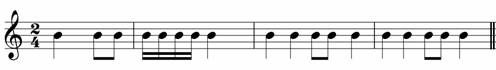 Don't write the same rhythm in both bars - grade one music theory