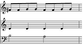 Eighth notes, quarter notes and half notes