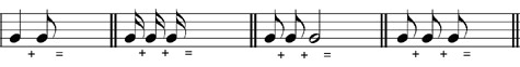 Write a dotted note equal to the notes given - grade 1 music theory