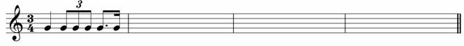 Write a four-bar rhythm using the given opening