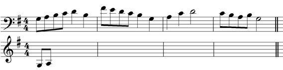 Rewrite this melody at the same pitch - grade two music theory