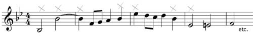 Pencil in the notes which need accidentals - grade two music theory