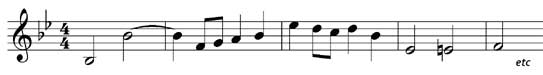Example tune for key signature question, grade two music theory