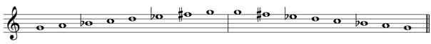 G minor harmonic treble