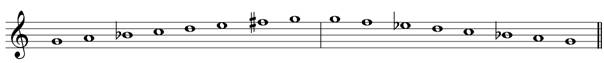 G minor melodic treble